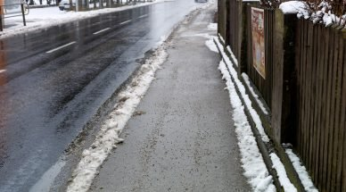 a salted sidewalk